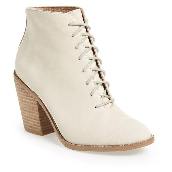 Women's Kelsi Dagger Brooklyn 'Jenson' Bootie (565 BRL) ❤ liked on Polyvore featuring shoes, boots, ankle booties, ivory leather, ivory booties, lace up booties, leather ankle booties, leather lace up booties and stacked heel booties