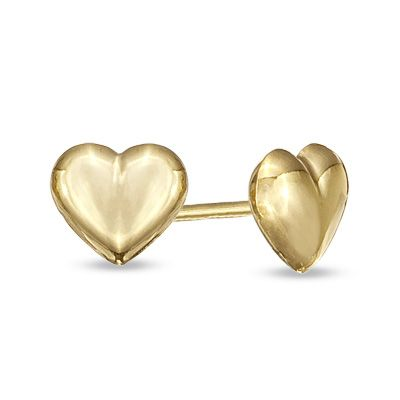 Gold Child S Puffy Heart Stud Earrings