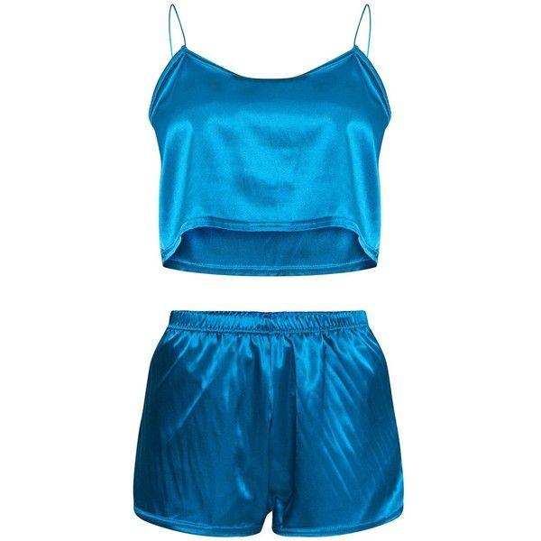 Hot Pink Satin Pyjama Shorts Set ( 20) ❤ liked on Polyvore featuring  intimates 963b7eefd