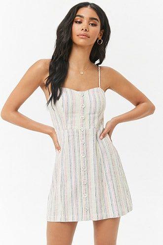b941ba797d DetailsA woven linen-blend dress featuring allover rainbow stripes ...