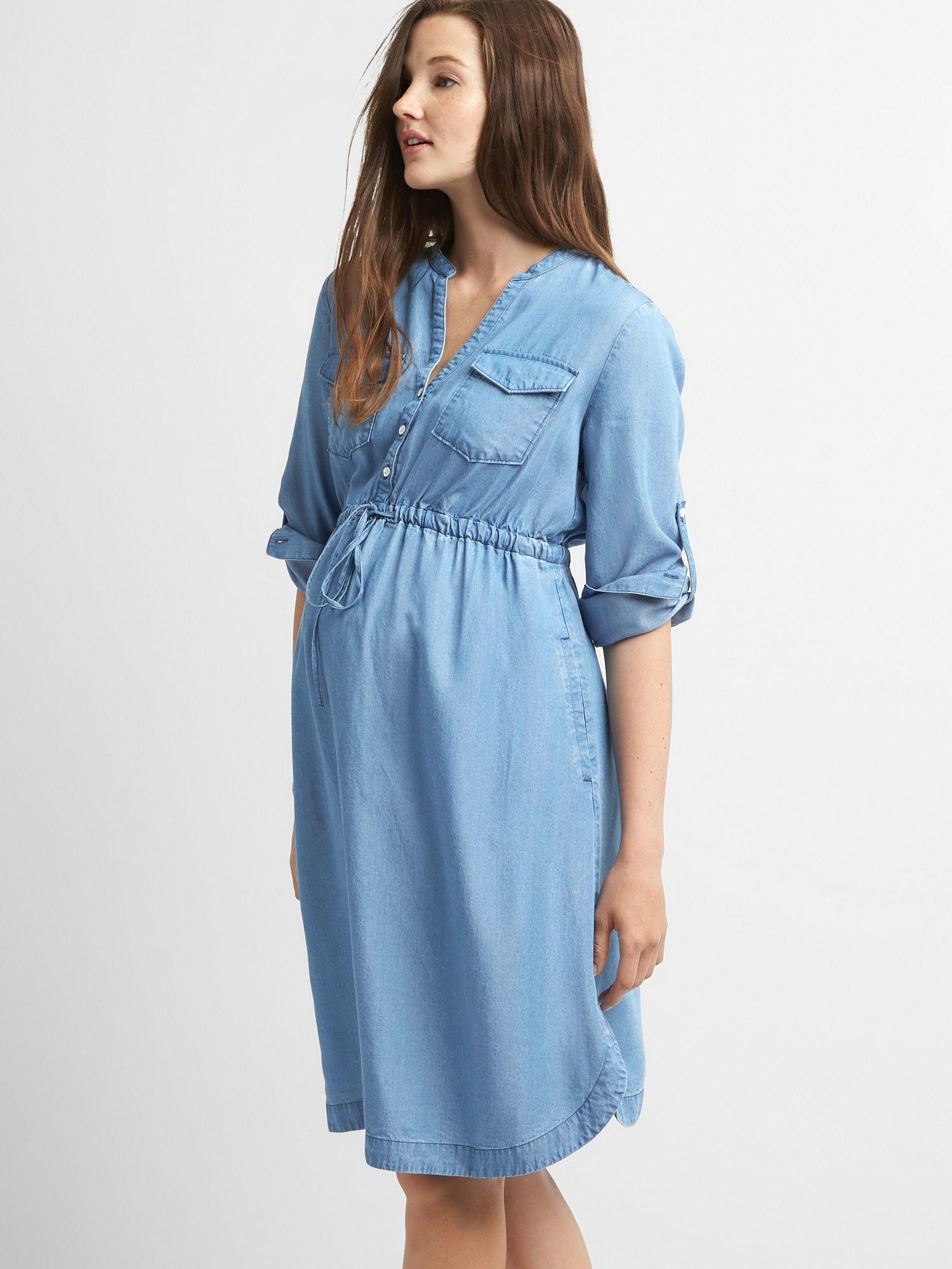 Gap maternity shirtdress in tencel sky blue in 2020