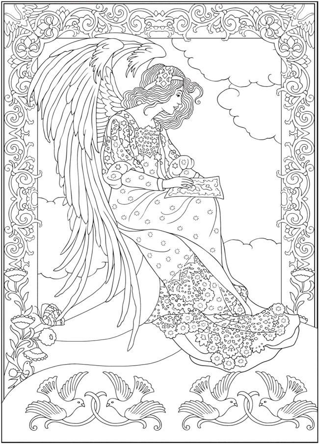 Creative Haven ELEGANT ANGELS Coloring Book By Marty Noble Welcome To Dover Publications COLORING PAGE 6