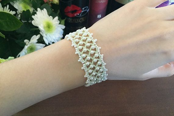 Tatting lace bracelet pdf pattern Eleanor by TheKimAndI on Etsy