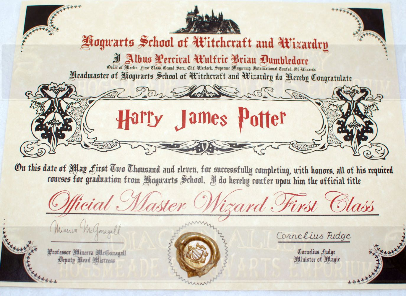 Hogwarts Diploma Perfect For Any Witch Wizard Or Harry Potter Fan