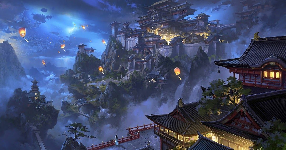 19 Anime Japanese Wallpaper Anime Sky Lantern Mountain Japanese Castle Night Scenery 4k Download Gr In 2020 Scenery Wallpaper Chinese Landscape Fantasy Landscape