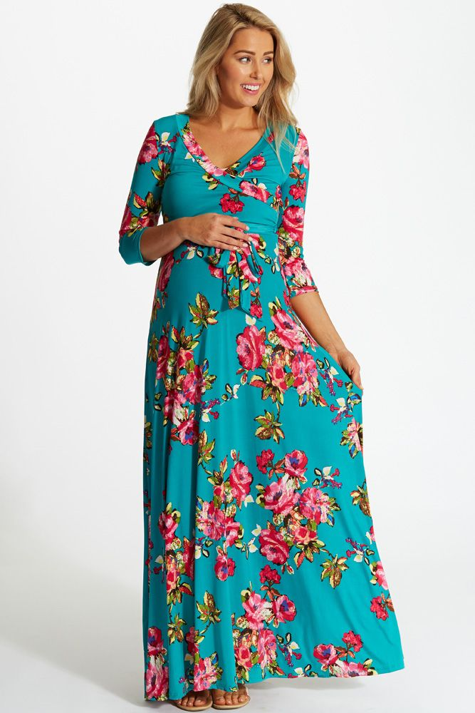 32fa228d069de Jade-Vibrant-Floral-Draped-3/4-Sleeve-Maternity-Maxi-Dress #greenmaxi  #floralprint #cutematernityclothes