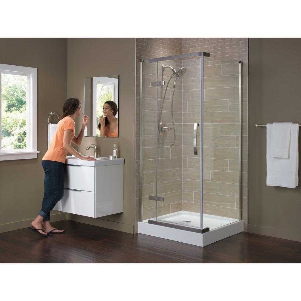 Corner Frameless Shower Enclosures delta 36 in. x 36 in. x 76 in. 3-piece corner frameless shower