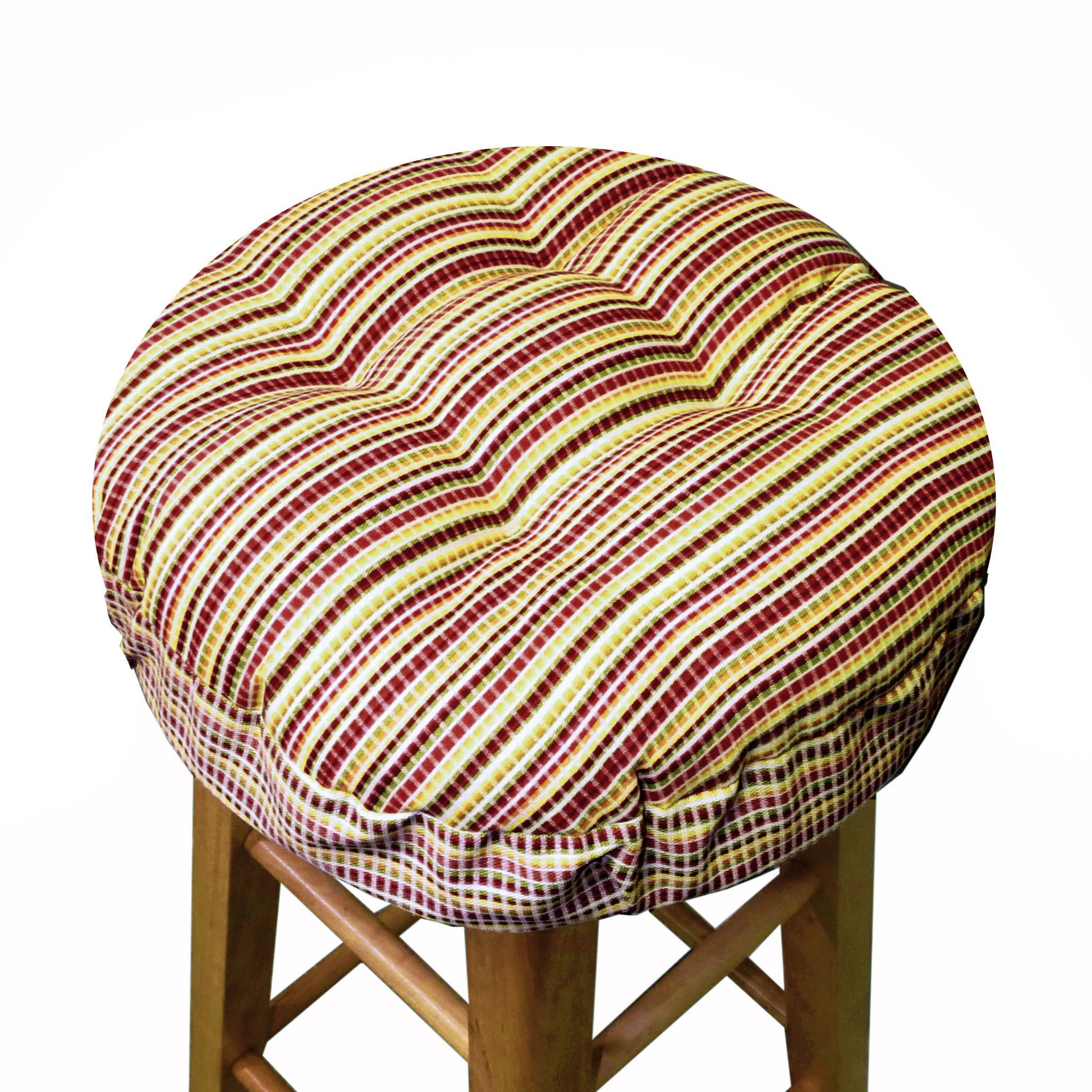 Atwood Plaid Bar Stool Cover Cushioned Indoor