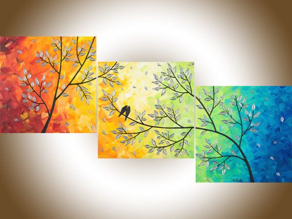 Contemporary wall art Set of 3 rainbow color art home decor wall ...