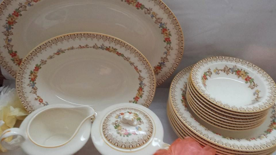 ****SOLD****--Vintage Edwin Knowles Semi-Vitreous 49 Piece Set of China Red Orange Yellow and Gold Floral 40-2 Made in the USA by JunkYardBlonde on Etsy