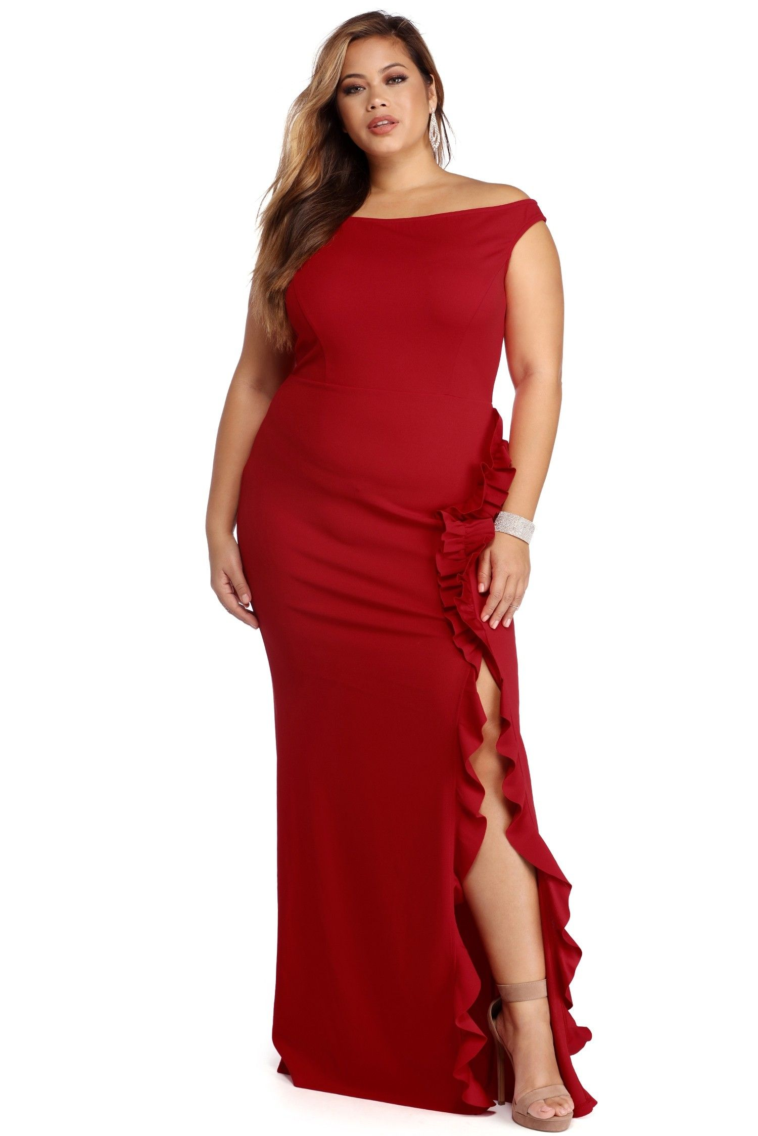 Clearance plus natalie red ruffled dress plus size