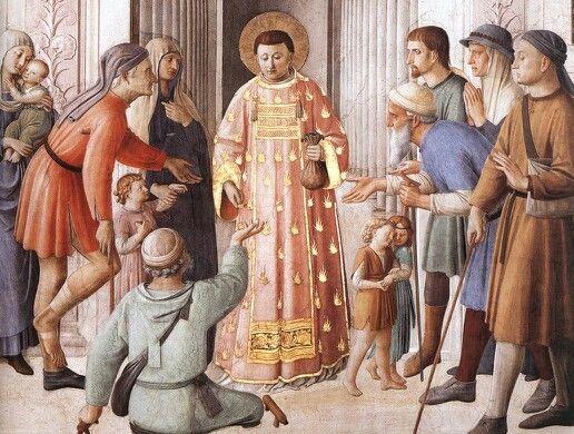 Fra Angelico - St. Lawrence Distributing Alms (detail), 1447-50, Fresco, Cappella Niccolina, Palazzi Pontifici, Vatican