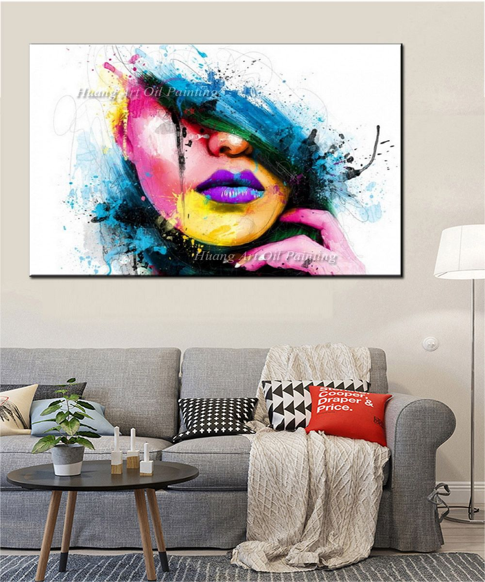 Wall Art For Large Walls Fashion Canvas Painting Sexy Women Face Picture  Abstract Figures Oil Painting For Room Decor c02d669579