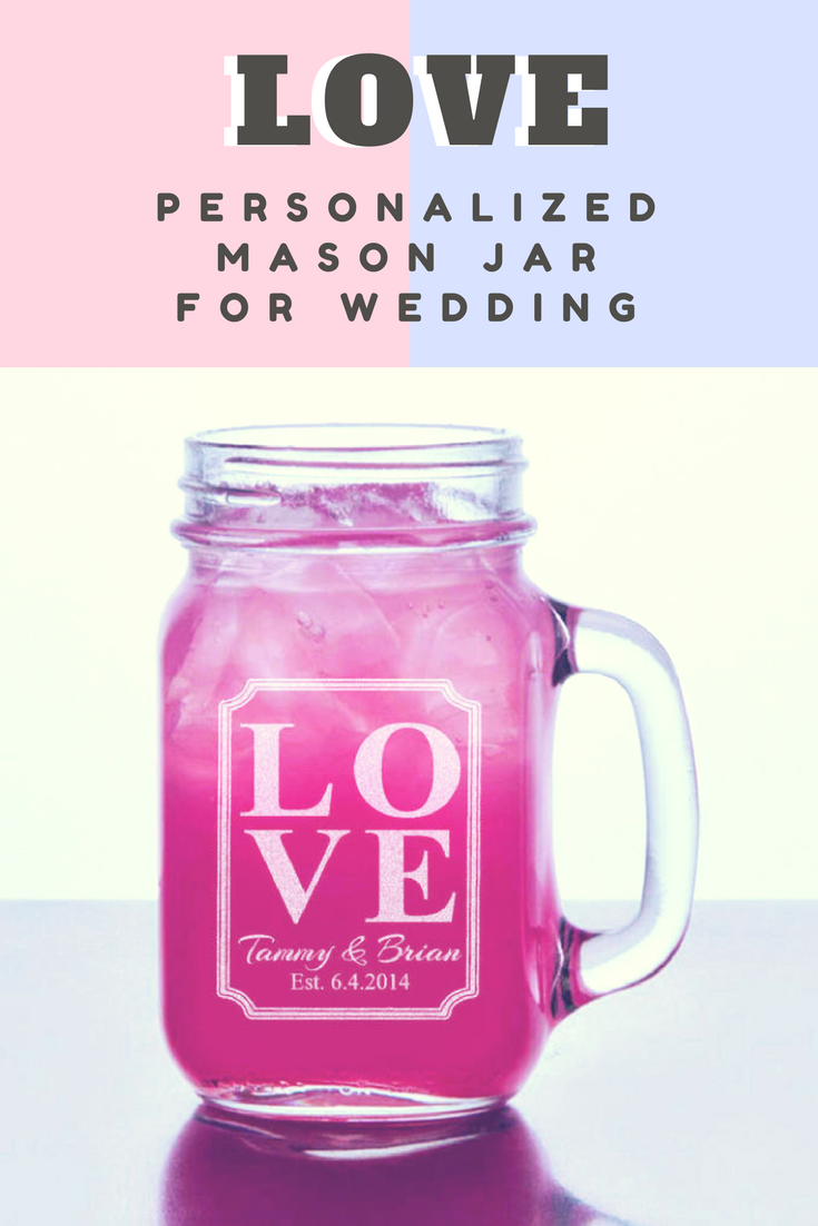 Barn Wedding Favor Love Personalized Mason Jar Mugs Rustic Wedding ...