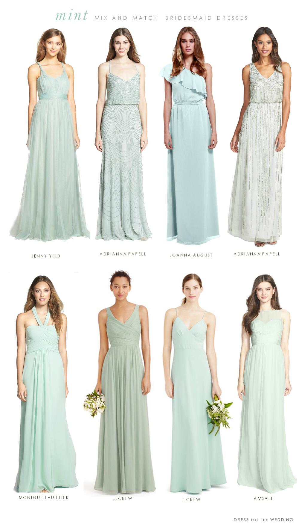 Mint Mismatched Bridesmaid Dresses | Brautjungfernkleider und Kleider