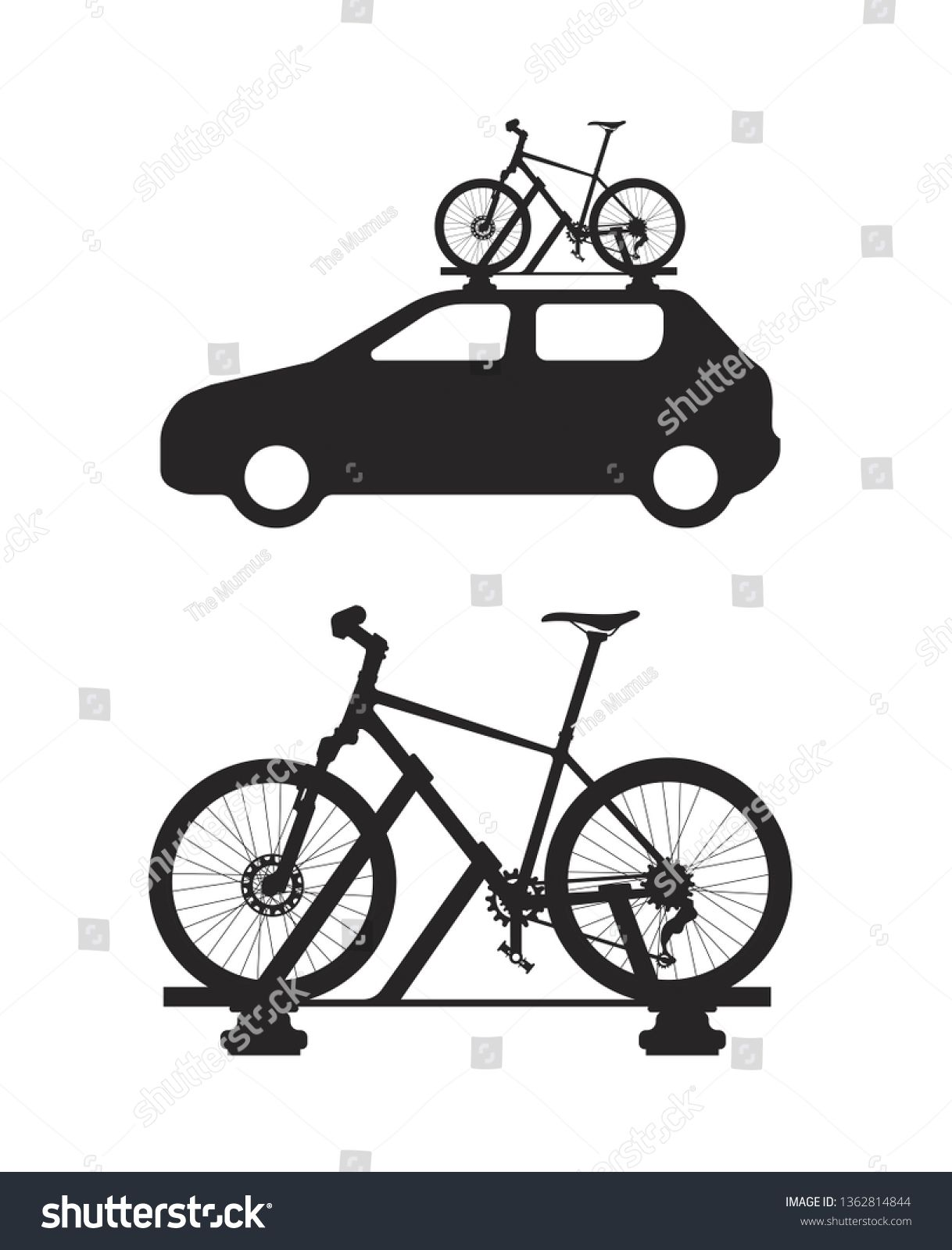 Car With Bicycle Roof Rack Transporting Bicycles On The Roof Ad