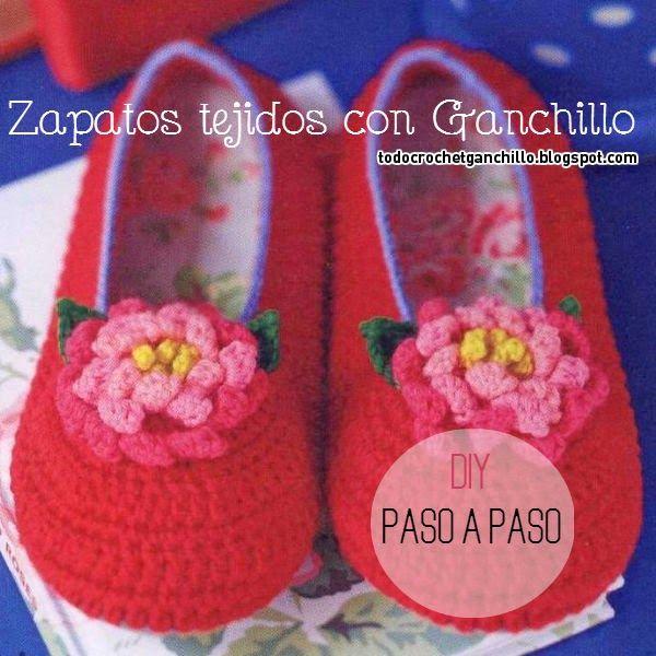 Como tejer zapatos al crochet con flor paso a paso | zapatillas ...