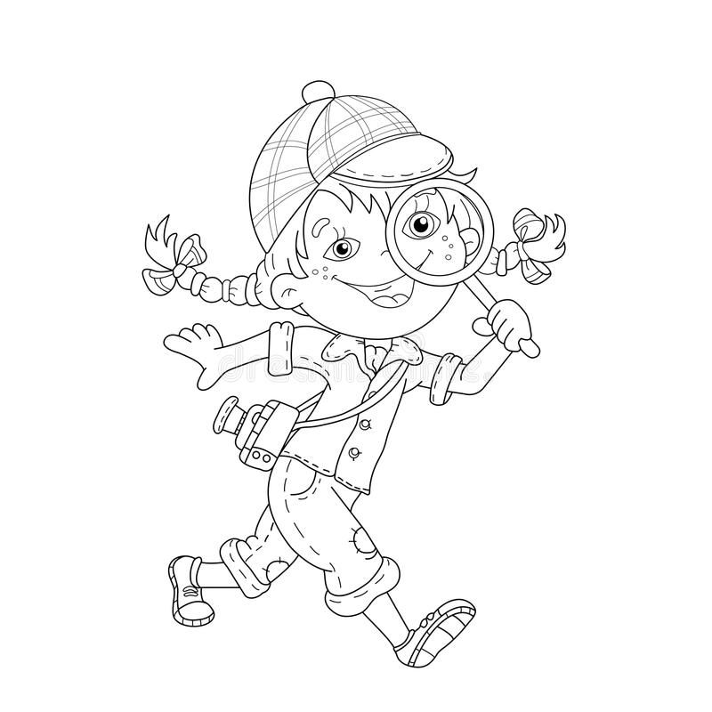 Coloring Page Outline Of Cartoon Girl Detective With Loupe Coloring Book For Kids Stock Illustration Girl Cartoon Detective Coloring Pages