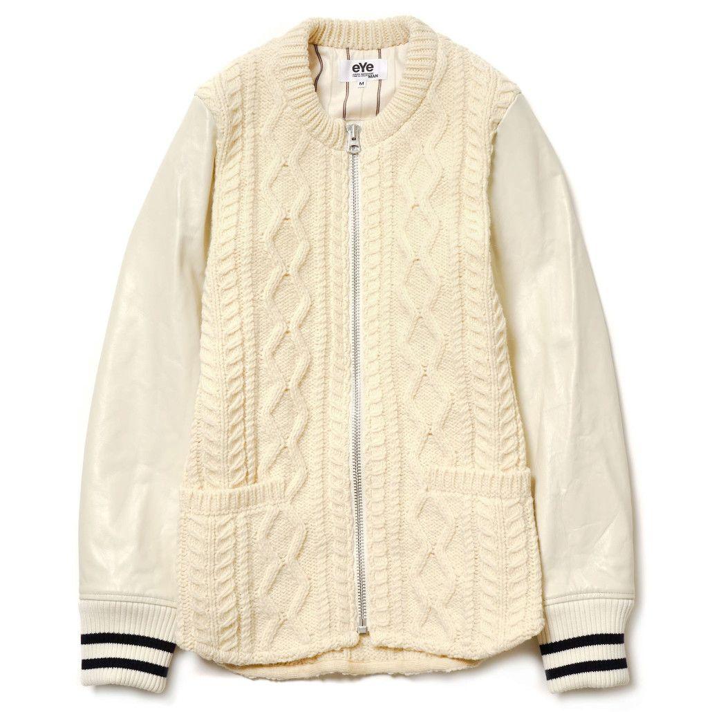 Junya Watanabe eYe Collarless Varsity Jacket | Four Pins