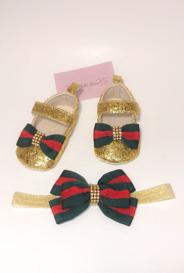 b02653780a50c Gucci Baby Girl shoes, gucci inspired baby girl shoes with matching ...