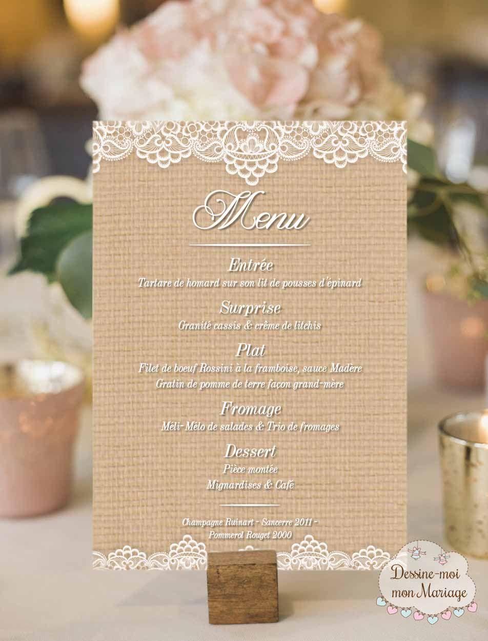 Cartes De Menu De Mariage Rustique Chic Menu Mariage Carte Menu Mariage Mariage Rustique