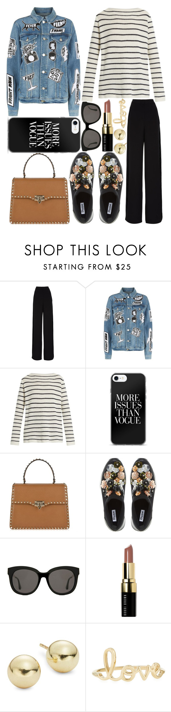 """Untitled #1179"" by sc-styles ❤ liked on Polyvore featuring Rochas, Frame, The Row, Valentino, Dune, Gentle Monster, Bobbi Brown Cosmetics, Lord & Taylor and Sydney Evan"