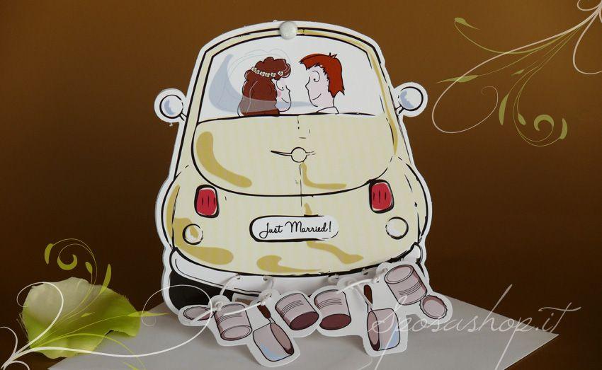 Partecipazioni Matrimonio 500.Partecipazione Sposi In 500 Casamiento