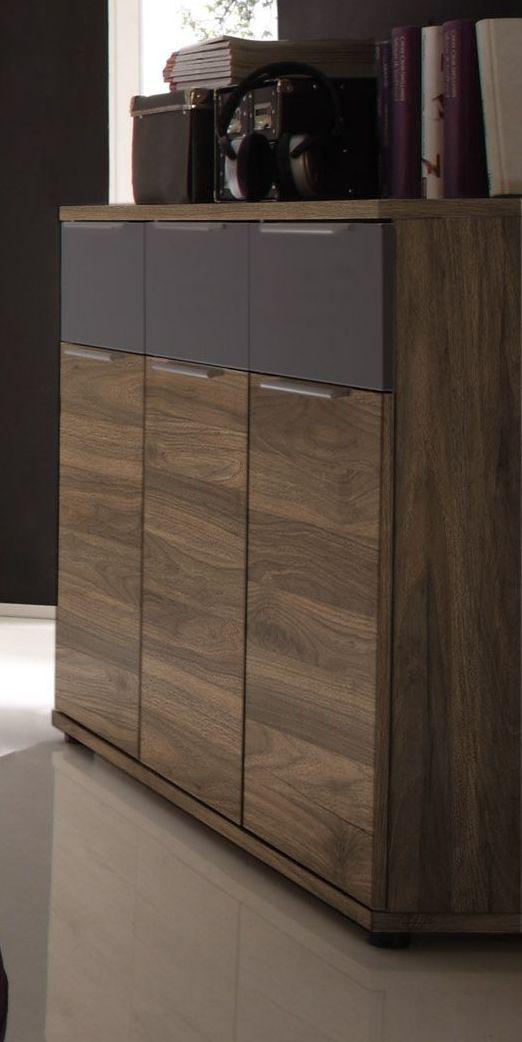 Kommode Columbia Nussbaum\/ Schwarz Matt Woody 62-00150 Holz Modern