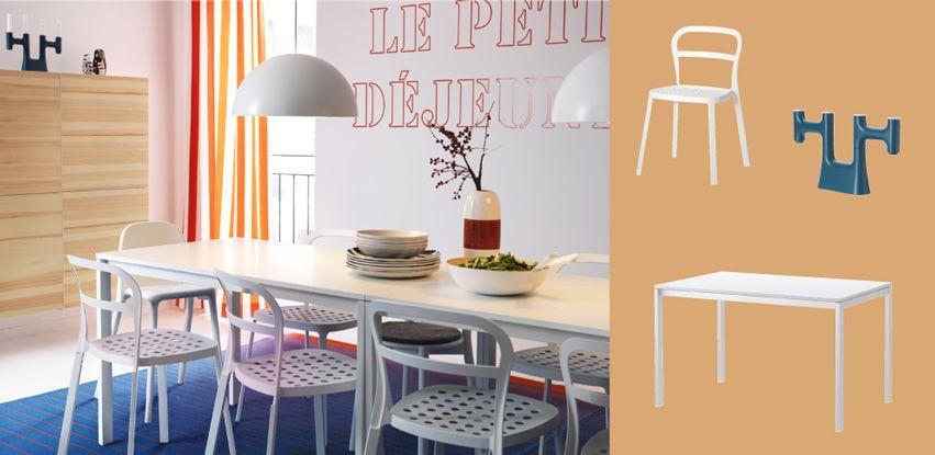Mesa branca MELLTORP para 4 pessoas com cadeiras brancas REIDAR e combinação de arrumação BESTÅ em chapa de pinho
