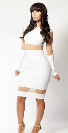 White Long Sleeve Contrast Mesh Yoke Bodycon Dress - Sheinside.com