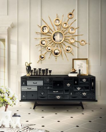 MONDRIAN Black Sideboard by Boca do Lobo Pinwothy Tables  Consoles