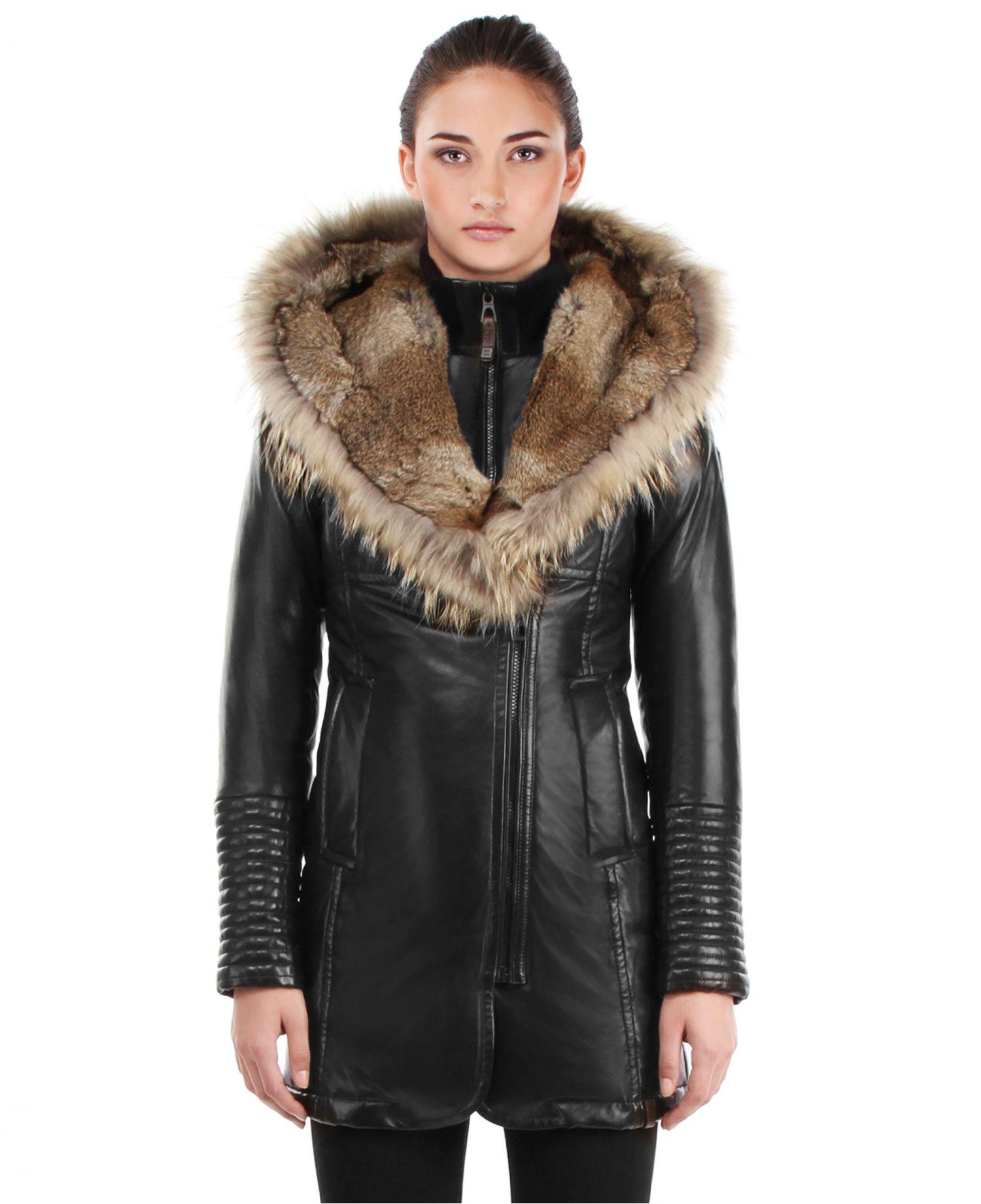 RUDSAK Coats (BLACK/NATURAL , GENUINE LAMB LEATHER