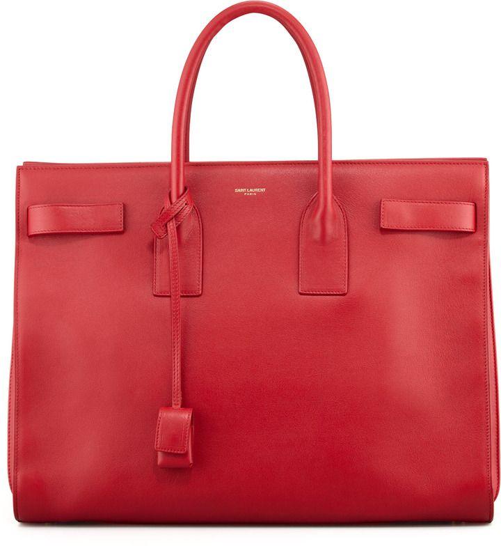 $3,490, Saint Laurent Classic Sac De Jour Leather Tote Bag Red ...