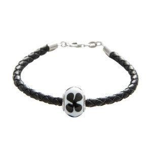 Bracelet à charm's, cuir, verre de Murano, argent 925/1000 noir longueur max : 21 cm