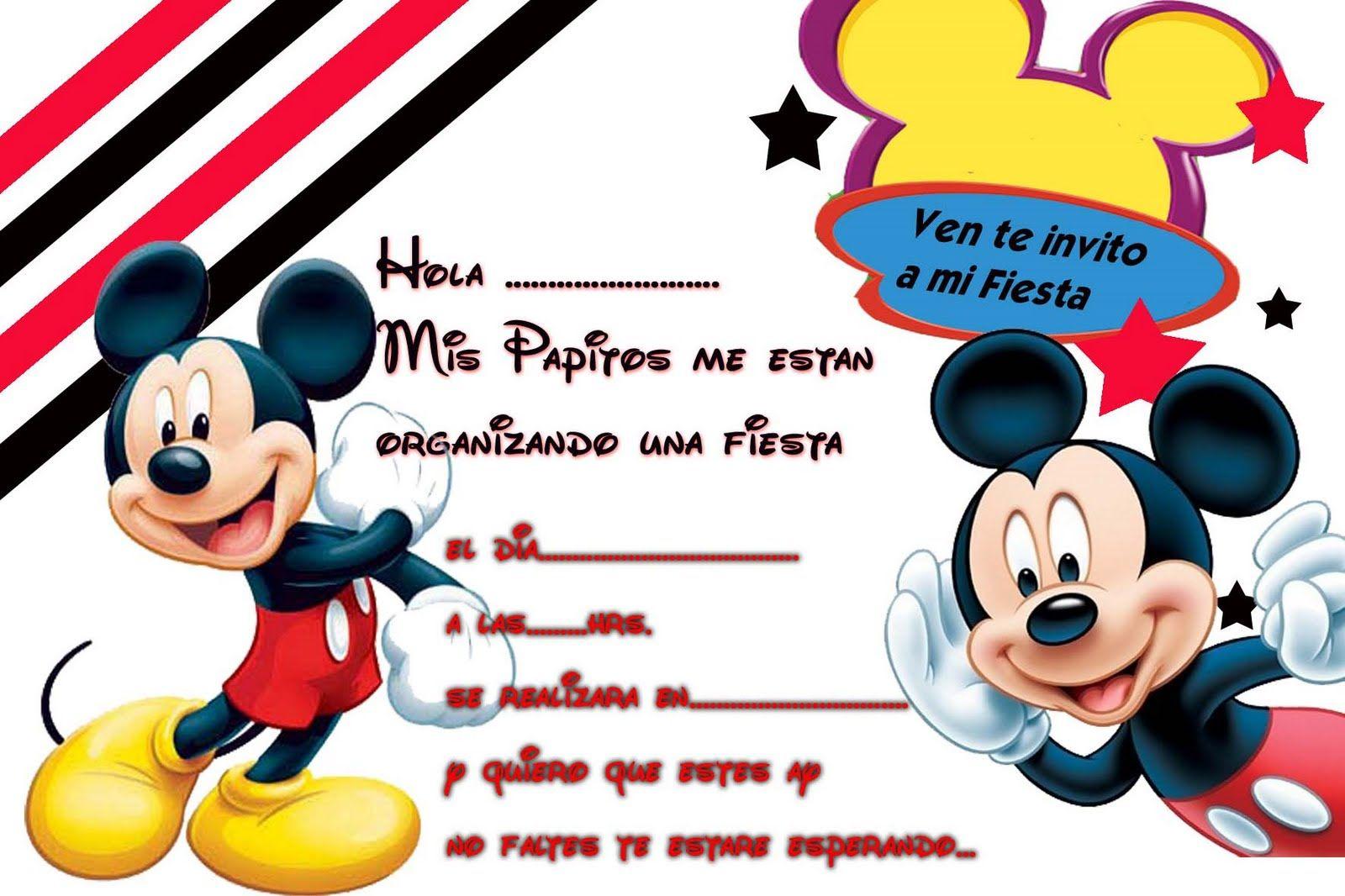 Invitaciones De Cumpleaños De Mickey Mouse Para Descargar Al