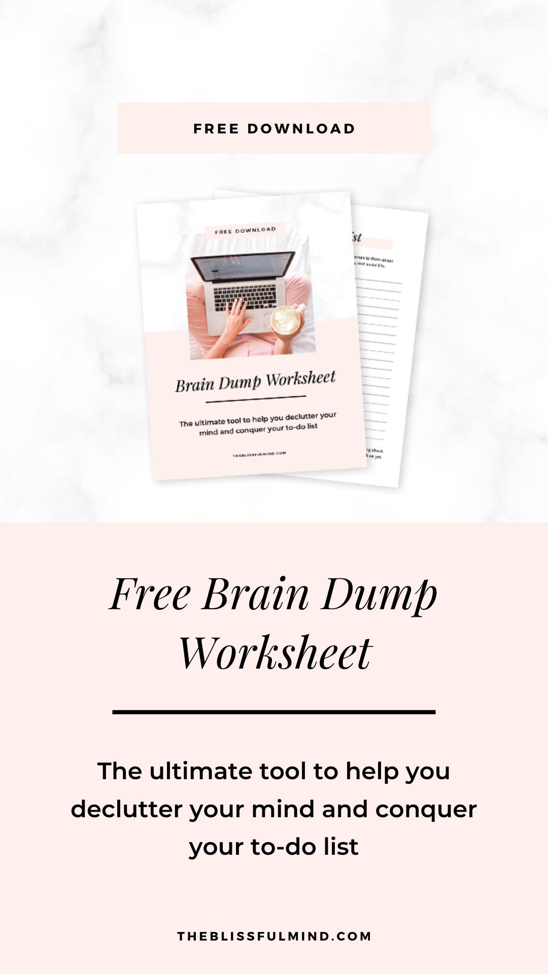 Free Brain Dump Worksheet In