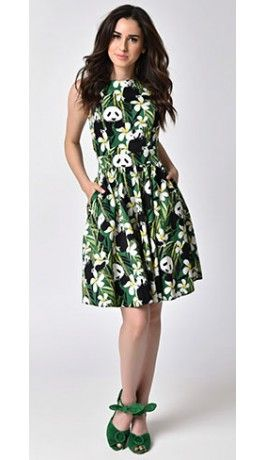 1950s Style Green Panda Sleeveless Full Circle Swing Tea