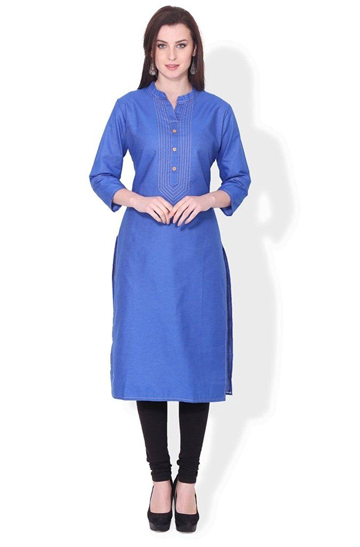 BLUEPOCKET Denim Kurti / Kurta for women(Royal Blue) | Designer ...