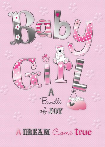 Birth Of A Baby Girl Quality Embossed Congratulations Card MA064 - Birth Of Baby Girl