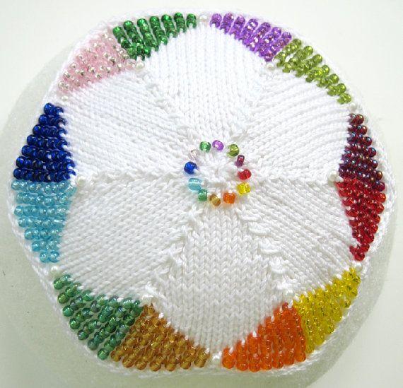 Josephs Amazing Technicolor Dream Kippah | Yarns, Beads and Etsy