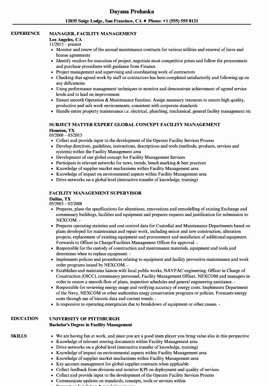 Director Of Facilities Resume Fresh Facility Management