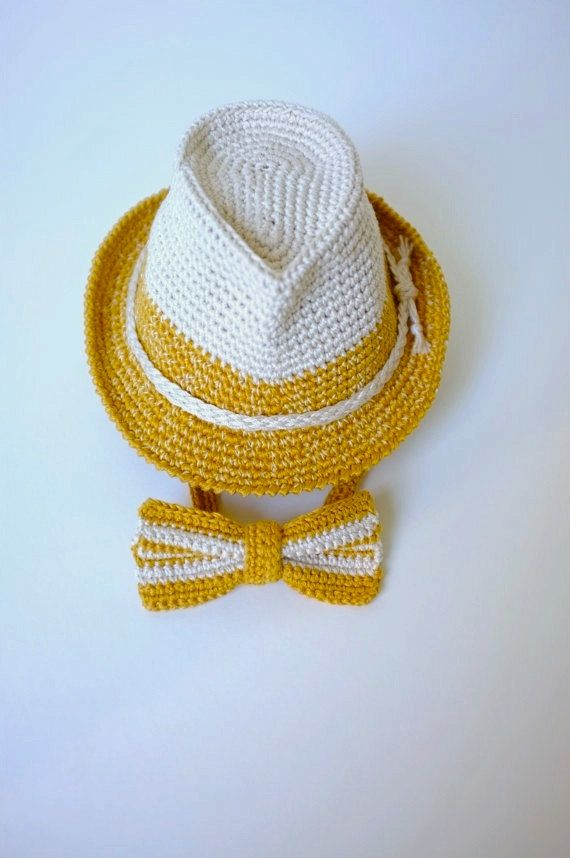 4dfb25f2fc7 Baby Toddler Fedora Hat and Bow Tie Set Newborn Photo Props Baby Boy Shower  Gift Crochet Cotton Hat Cute Hats by Mila Halloween Costume