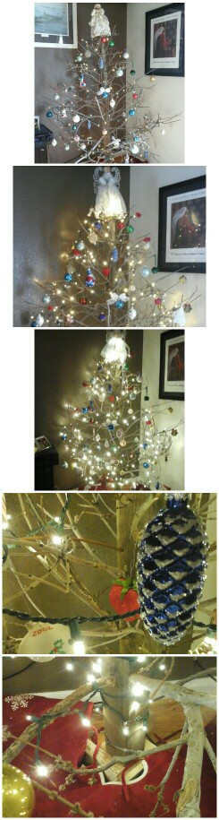 Christmas Tree created from twigs from yard and salvaged 4x4. Simply attach 2x4 at bottom to ...