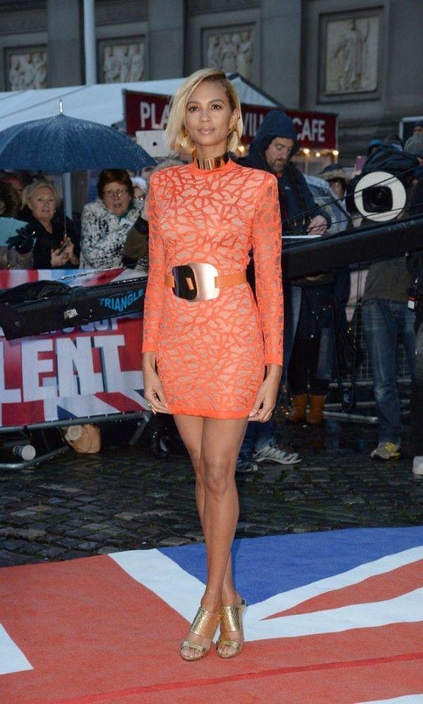 bd5c263701572 Splurge: Alesha Dixon's Britain's Got Talent Liverpool Balmain Coral Effect  Knit Dress and Giuseppe Zanotti Gold Andrea Metallic Snake Effect Leather  Mules