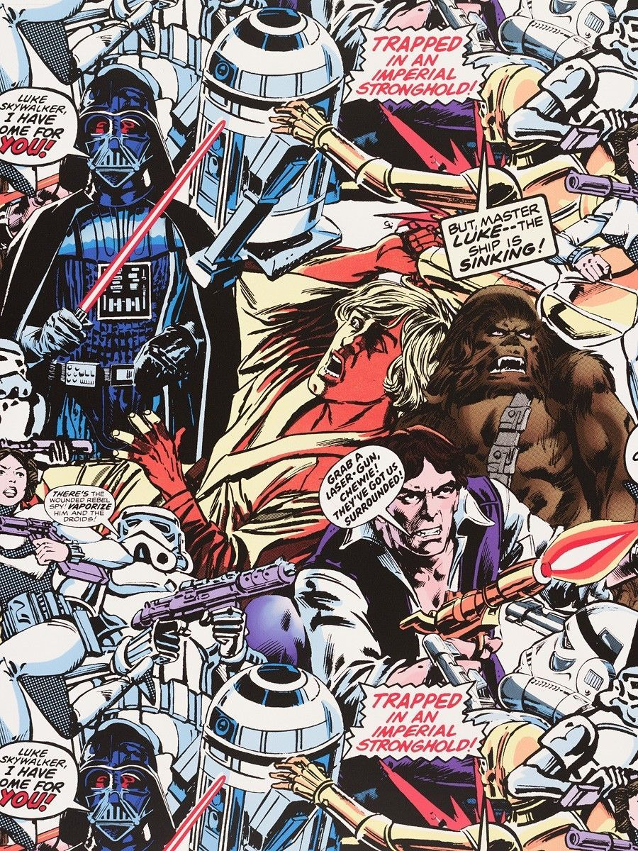 Wallpaper Colorful Star Wars Retro Cartoon Graham Brown Tapete