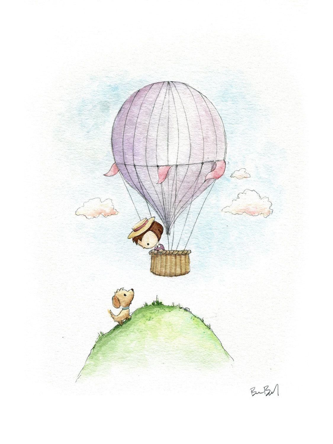 Vintage Style Hot Air Balloon Little Girl and Puppy Watercolor | Etsy