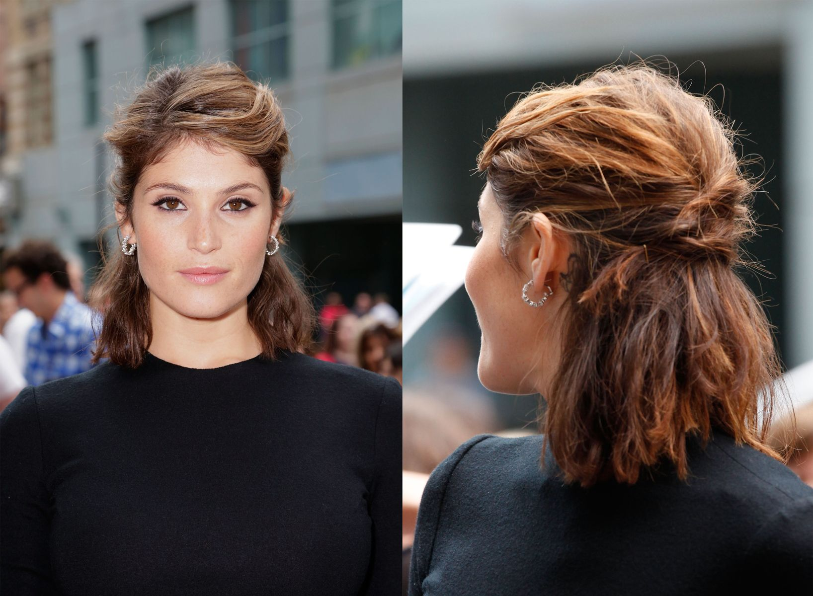 Shoulder-Length Hair With a Twist: Gemma Arterton's Half-Back Braided Look #eveninghair