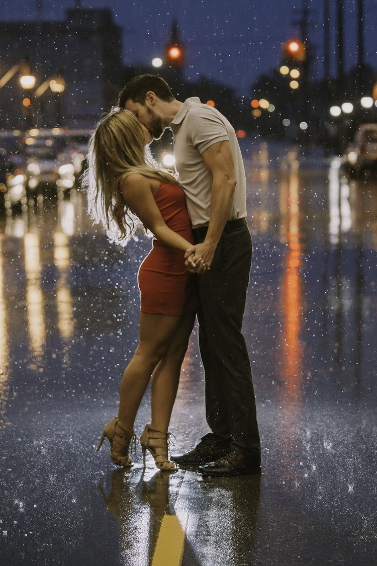 Kiss in the rain - engagement photo idea by Shelley Vinson