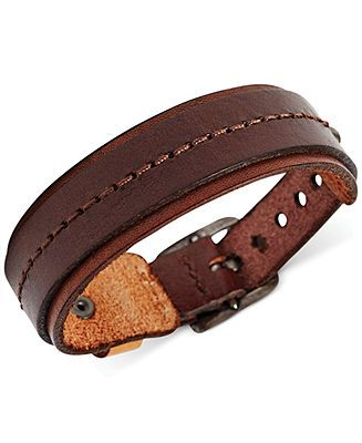 2bea380f81d8f Fossil Men's Wide Brown Leather Bracelet - Fashion Jewelry - Jewelry ...