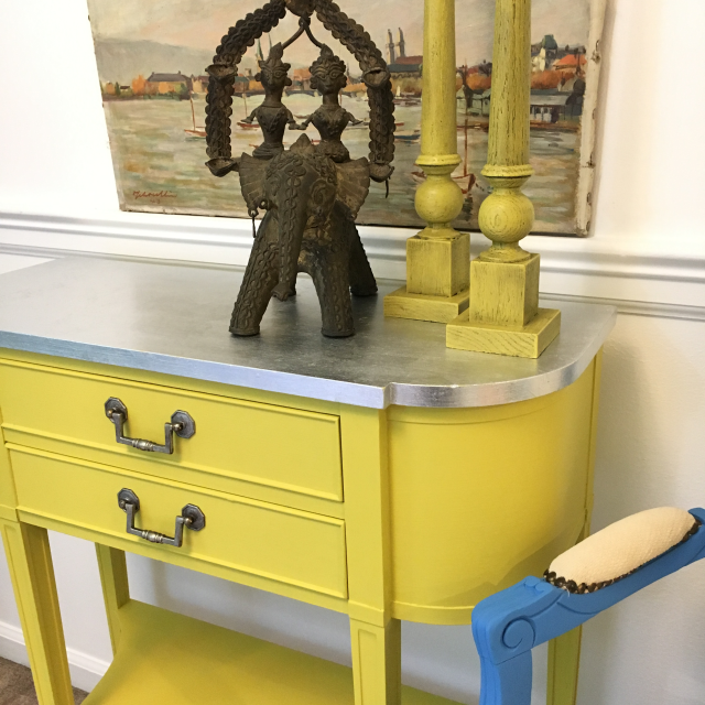 Silver Leaf Yellow Console Table Console Table Blue Drawers